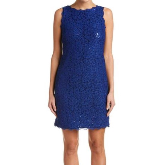 Hpadrianna Papell Blue Lace Sheath Dress
